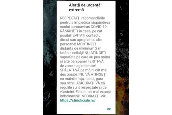 Romania: Use of a Cell Broadcast message to inform the population about the authorities' measures to fight the spread of Covid-19