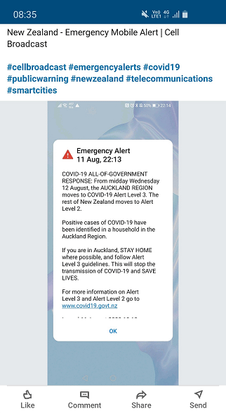New Zealand: Use of a Cell-Broadcast alert to inform the population about the spread of COVID-19 and the change of alert level