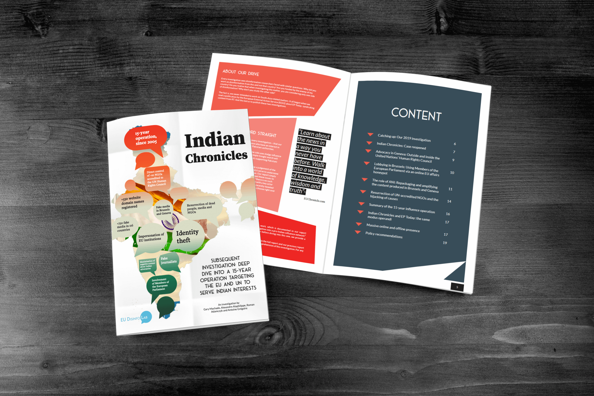 EU DisinfoLab Indian Chronicles brochure - designed and edited by Fastlane